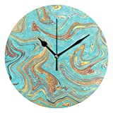 WellLee Turquoise Gold Marble Clock Acrylic Painted Silent Non-Ticking Round Wall Clock Home Art Bedroom Living Dorm Room Decor