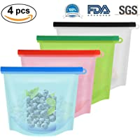 Oenbopo 4pcs/lot Reusable Silicone Food Storage Preservation Bags Freshness Protection Seal Bag Carry Pouch Kitchen Supplies
