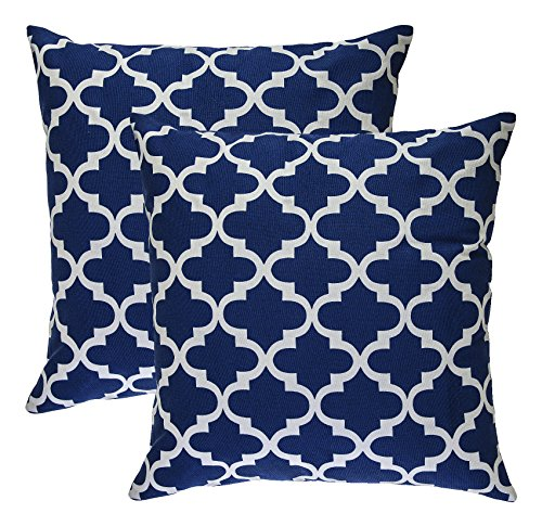 TreeWool, (2 Pack) Throw Pillow Covers Trellis Accent in Cotton Canvas (18 x 18 Inches; Navy Blue) (Pillows Blue Bed Accent For)
