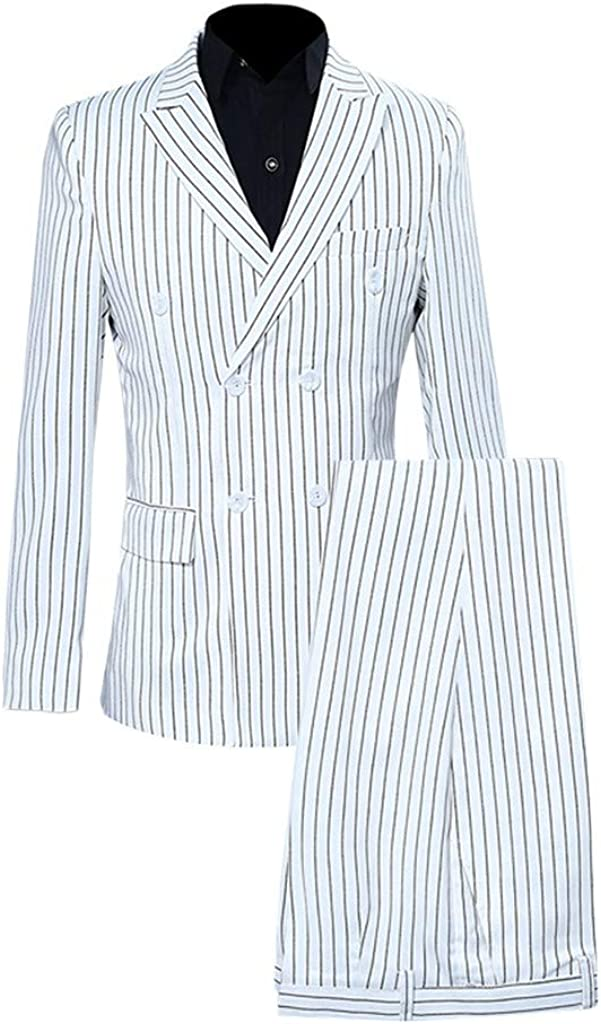 Men's Slim Fit 2-Piece Stripe Blazer Suit,Suma-ma Male Business Work Casual Host Show Jacket Coat And Pant Set