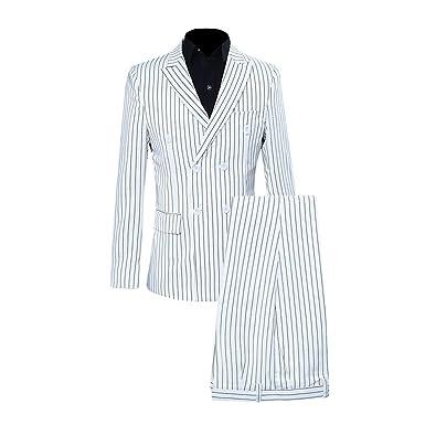 Xmiral Veste Costume Homme Mince Bande Pleine Manteau et Pantalon  d émission (S 3e17613d669