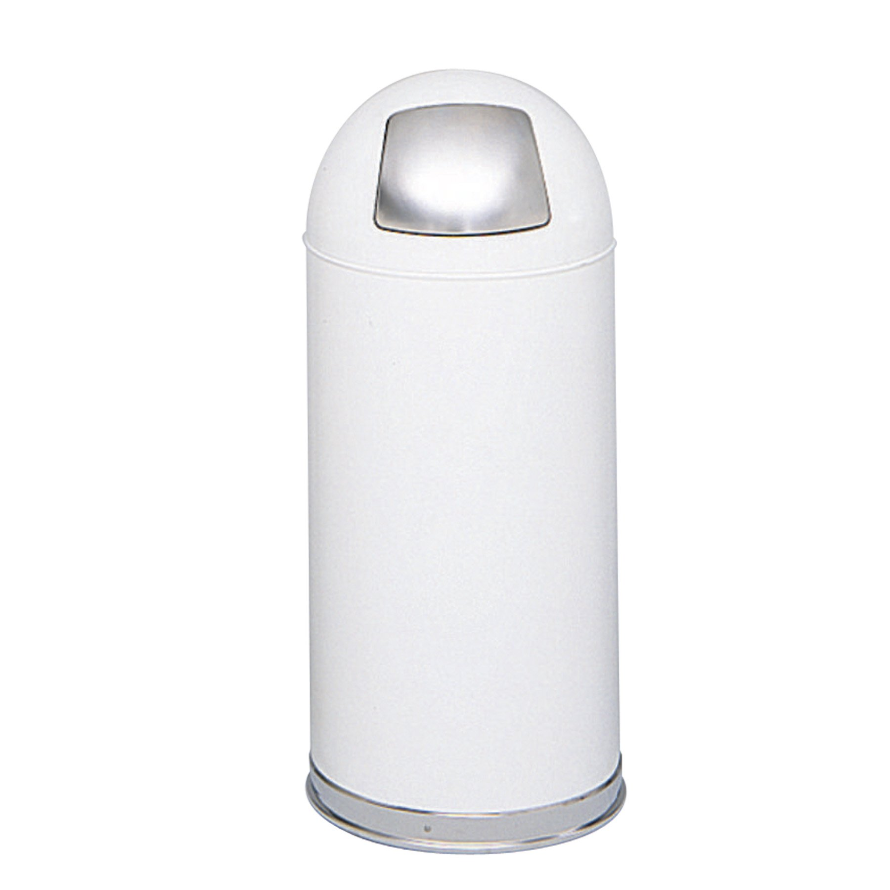 Safco Products 9636WH Push Door Dome Top Waste Receptacle, 15-Gallon, White