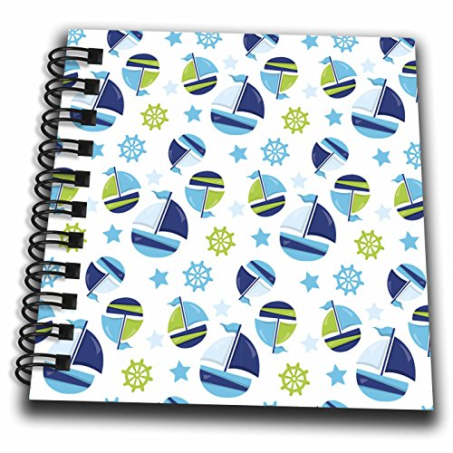 3dRose Anne Marie Baugh - Patterns - Cute Blue and Green Sailing Ships and Sailing Wheel Pattern - Mini Notepad 4 x 4 inch (db_274145_3)
