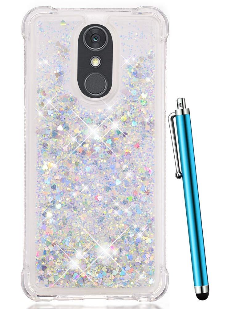 LG Stylo 4 Case, LG Q Stylus Case, LG Stylo 4 Plus, LG Stylus 4 Case, CAIYUNL Glitter Bling Shiny Liquid Quicksand Sparkle Clear TPU Protective Case Luxury Design Women Men Cover For LG Stylo 4-Sliver