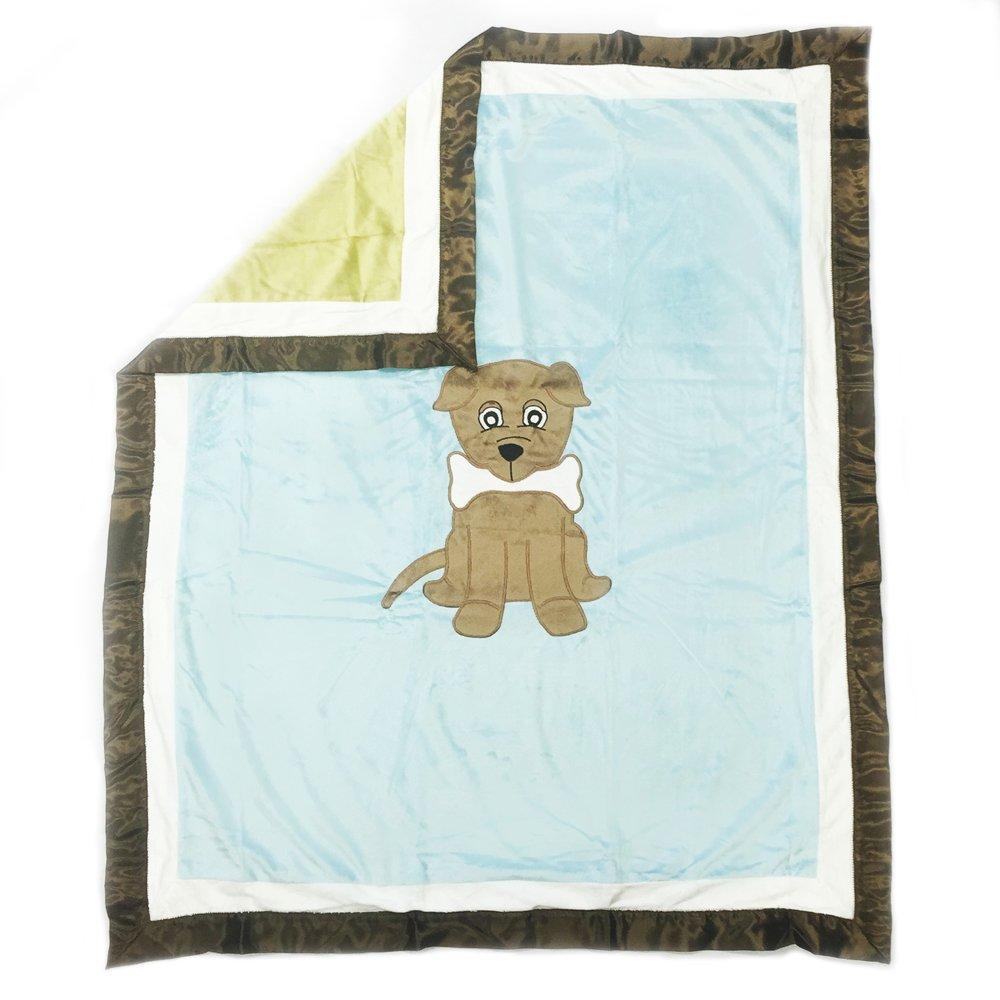 One Grace Place 10-33024 Puppy Pal Boy-Medium Quilt Powder Blue, Sage Green, Chocolate Brown and White Yeelein