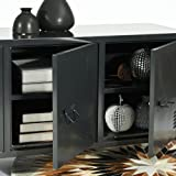 "Homycasa Metal Locker 55"" TV Entertainment Center | Coffee Accent Console Table | Decor Accessory Display Case | Wide 3 in 1 Cabinet Door Hidden Bookcase 2 Tier Shelf 6 Compartment Organizer"