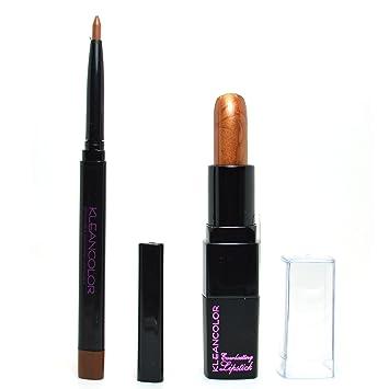 ebf4c5f09b Amazon.com   Kleancolor 1 Eye Lip Liner Auburn + 1 Creamy Lipstick Copper  LINERK12 + FREE EARRING   Beauty