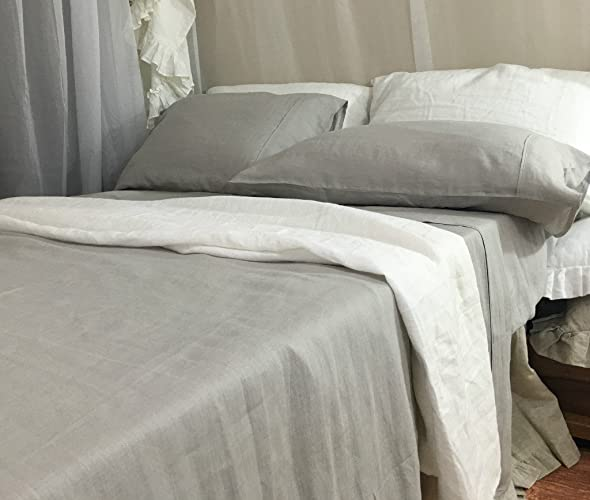 Stone Grey Bed Sheet Handmade In Natural Linen, Light Grey Bed Sheets,  Light Grey