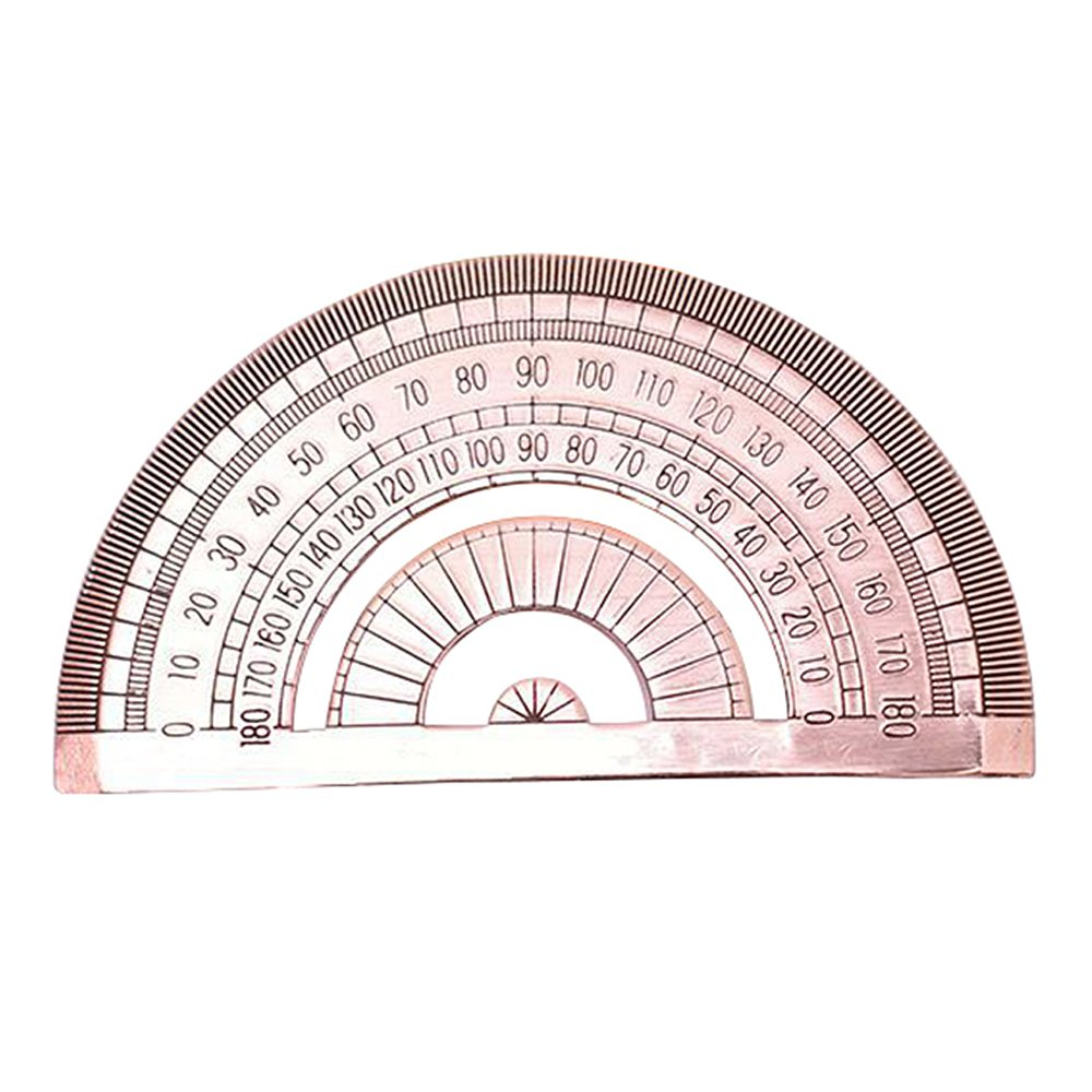 Retro Pure Copper Brass Degree Standard Protractor Math Geometry EDC Anti-corrosion Ruler Stationery AUTULET