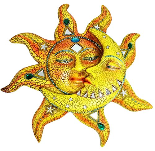 Beautiful Mosaic Celestial Sun and Moon Day Surrendering Unto Night Wall Sculpture Hanging Decor Figurine (Sun Moon Decor)