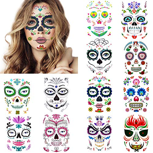 12 Pack Day of the Dead Sugar Skull Temporary Face Tattoo Halloween Makeup Tattoo for Men and Women