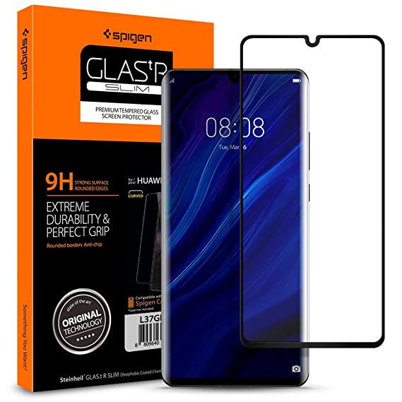 wholesale dealer 21a79 8d258 Spigen, Huawei P30 Pro Screen Protector, Glas.tR 3D Curved, HD Full  Coverage, Edge to Edge Protection, 9H Tempered Glass, Case Friendly, High  ...