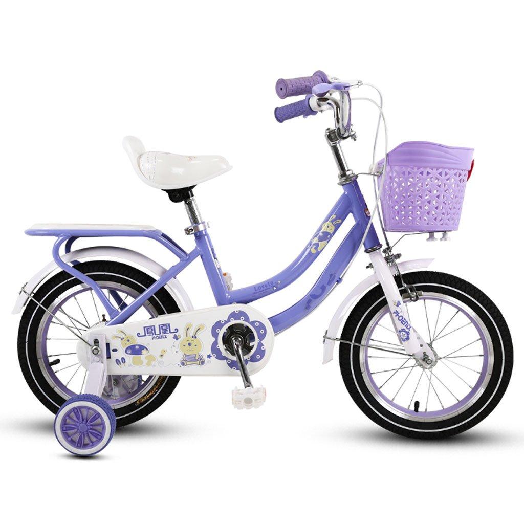 子供の自転車の女の子三輪車3-5-9歳のベビーカーの14/16/18インチ子供の自転車パープル ( Size : 14 inch purple ) B07DR88XZL
