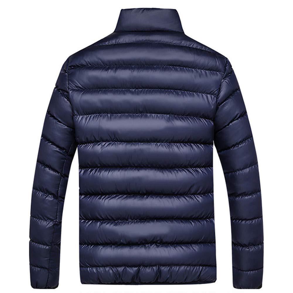 Ximandi Winter Mens Winter Leisure Zipper Pocket Down Jackets Stand Collar Coat