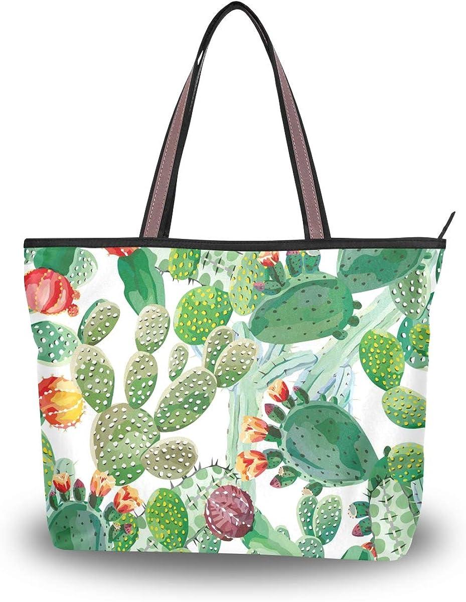 NaiiaN Bolso de mano Correa de peso ligero Bolsos de flores Monedero Compras para mujeres Niñas Damas Bolsos de hombro para estudiantes Patrón de cactus de plantas tropicales