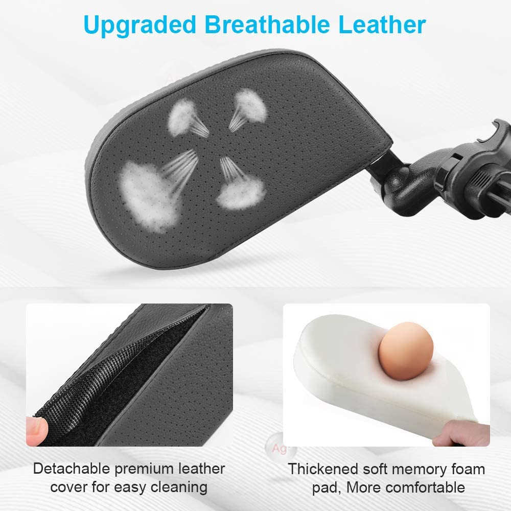AOLEAD Car Headrest Pillow Neck Support Breathable Leather 360 Degree Adjustable Both Sides Travel Sleeping Cushion for Kids Adults Black