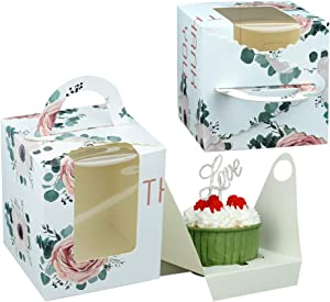 Single Cupcake Boxes, Portable Paper Cupcake Carriers Individual Kraft Cupcakes Boxes with Display Window and Insert Cake Box, Pastry Carrier Small Cake Box for Baby Shower Parties(25 Pack)