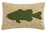 Peking Handicraft Large Mouth Bass Hook Pillow, 8 x 12''