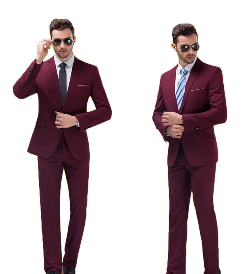 Love Dress Wedding Suits for Groom Tuxedos for Men Jacket Pant Burgundy L