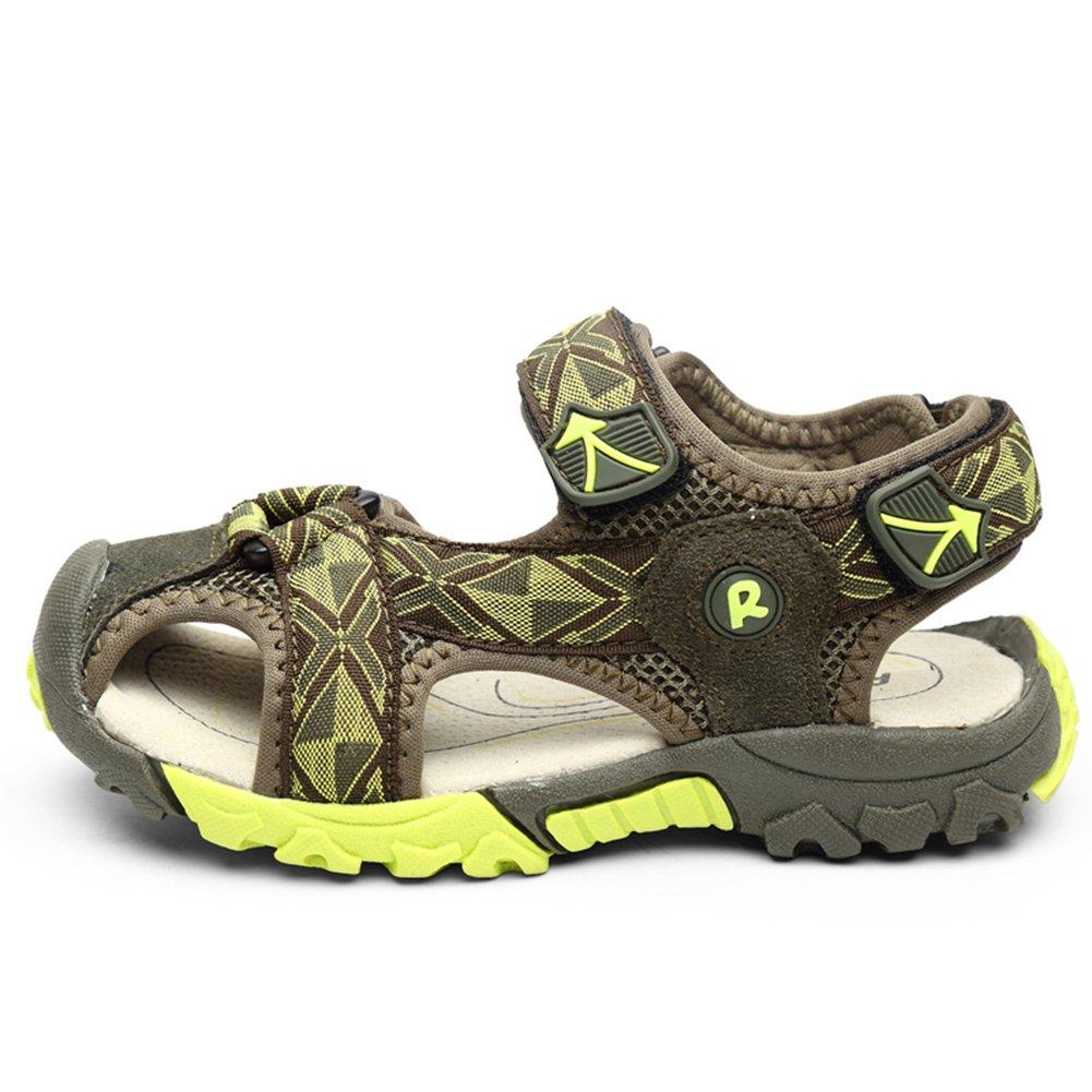 KKIDSS Boys Girls Sport Water Sandals Summer Closed-Toe Athletic Kids Shoes Green 1 M US Little Kid