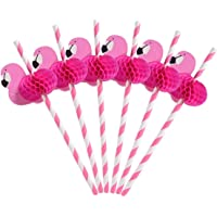 Flamingo Paper Straw Decorations - Drinking Straws Decorative For Party Table Decor, 10 Count