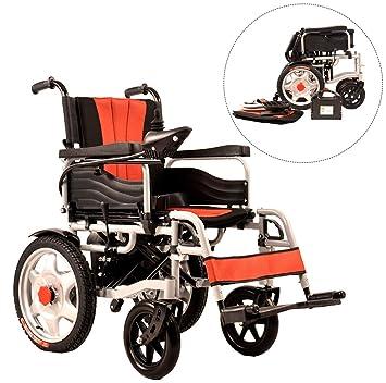 JL-Q Plegable Silla de Ruedas eléctrica de Ancianos discapacitados Scooter eléctrico de Cuatro Ruedas de Peso Ligero-Doble Motor (Control de la Mano ...