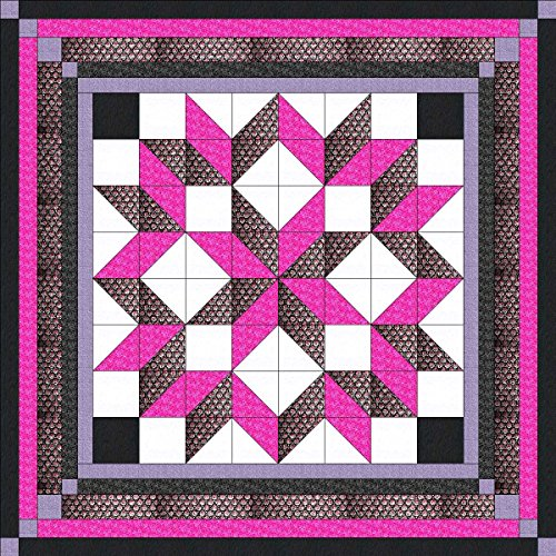 Easy Quilt Kit Carpenters Wheel/ Pink/Black/Silver Exped Ship/Queen by Material Maven