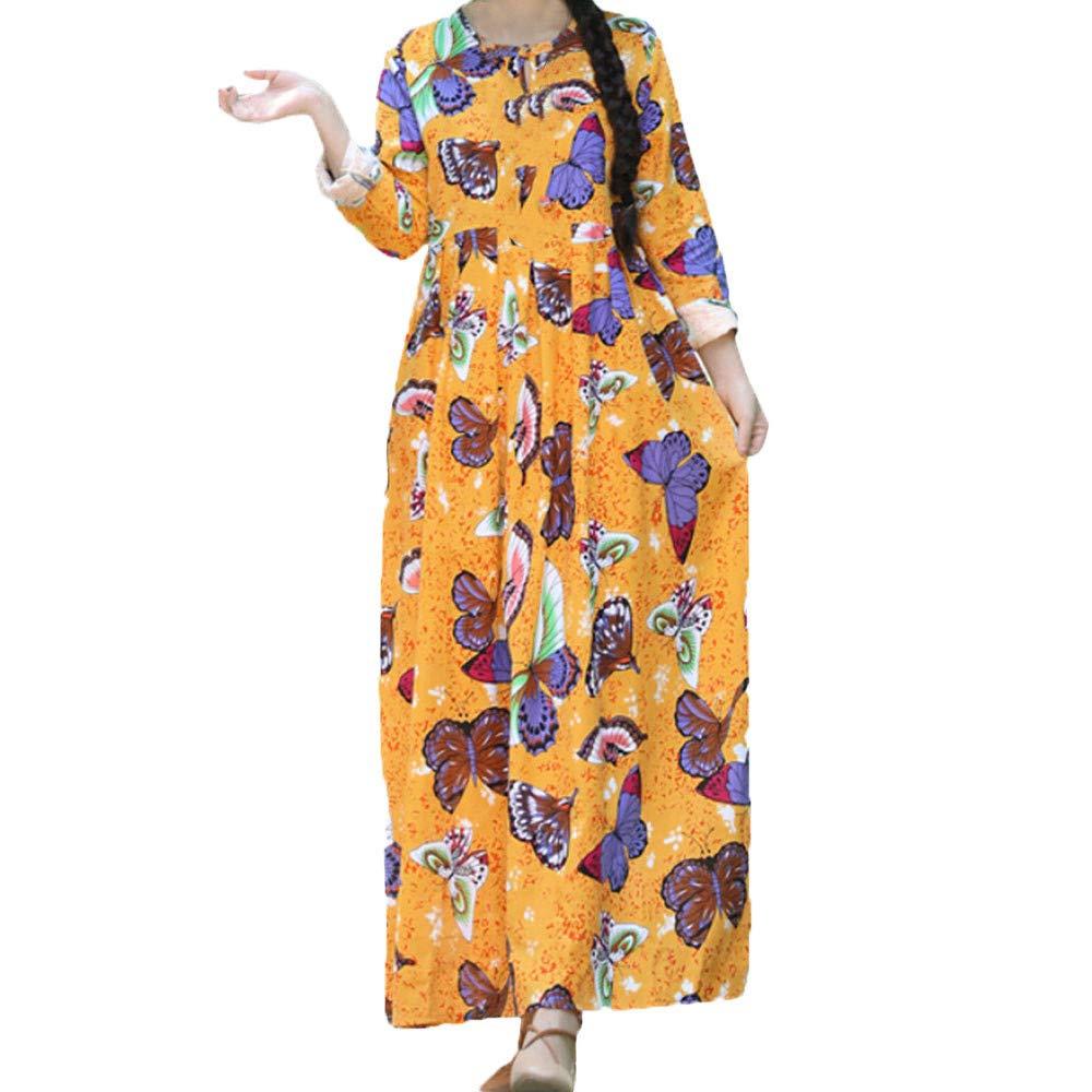 2d9331ab84 Amazon.com  Women Autumn Loose Linen Dress Vintage Long Sleeve Leaf Printed  Boho Long Maxi Dresses  Clothing
