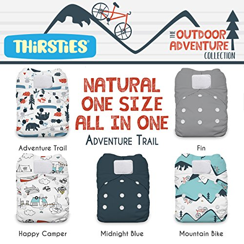 Thirsties Package, Natural One Size All In One Hook & Loop, Outdoor Adventure Collection Adventure Trail