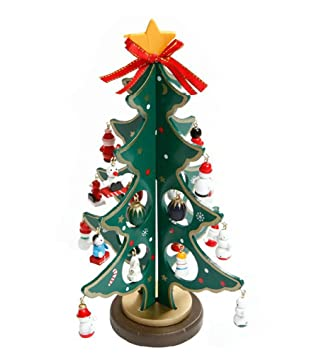 tabletop christmas treefashionclubs wooden tree with miniature christmas ornamentsdiy mini christmas tree