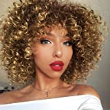 AISI QUEENS Afro Wigs For Black Women Short Kinky Curly Full Wigs Brown Mixed Blonde Synthetic Heat Resistant Wigs For African Women With Wig Cap