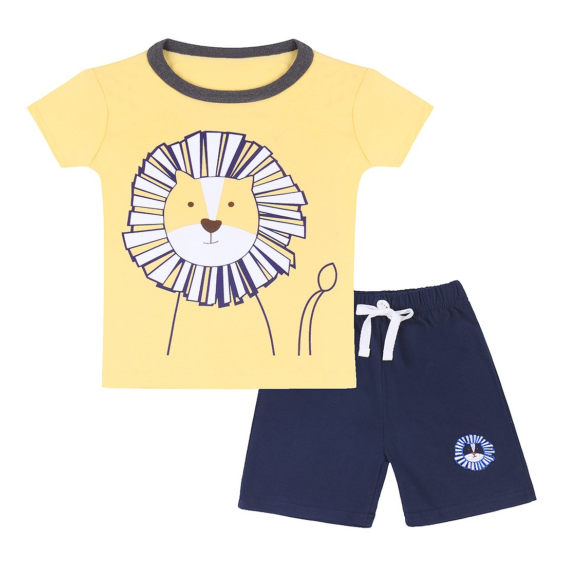 Neeseelily Baby Boy Short Sleeve T-Shirts and Shorts 2pcs Set Clothes (Yellow, 18-24 Months)