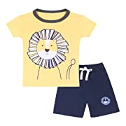 Neeseelily Baby Boy Short Sleeve T-Shirts and Shorts 2pcs Set Clothes (Yellow, 12-18 Months)