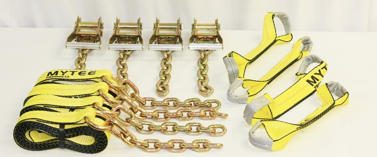 Roll Back Tie Down System Chain Ends 8 Point for Car Hauler Carrier Tow Truck Mytee Products