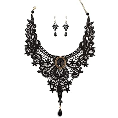 Black Gothic Costume Choker Necklace And Earring Set J56CJ27Sh