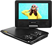 APEMAN 7.5'' Portable DVD Player for Kids and Car Swivel Screen Support SD Card USB CD DVD with AV Input/Output and Earphone