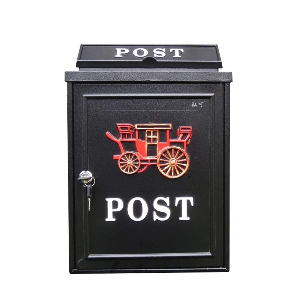 メールボックス、ヨーロッパのレターボックス屋外レインウォーターウォールロックポストボックスクリエイティブレターボックス(カラー:C)   B07TRLJXTS