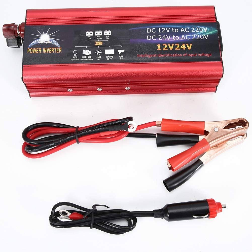 Duokon Car Inverter,Universal 12V 24V Car Solar Power 6000W Inverter Converter 12V to 220V