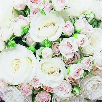 20 Servietten Weisse Und Rosa Rosen Blumen Hochzeit 33x33cm