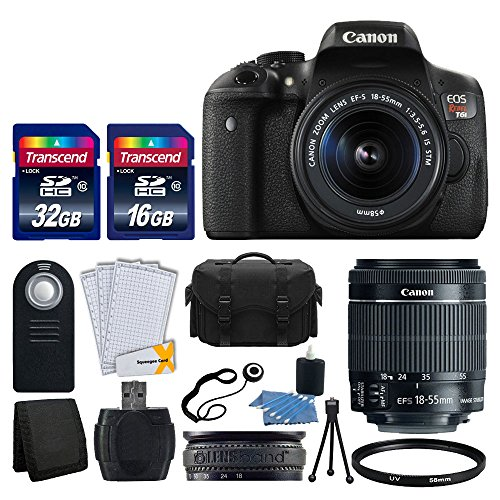 Canon EOS Rebel T6i 24.2 MP EF-S DSLR Camera + Canon EF-S 18-55mm f/3.5-5.6 STM Zoom Lens + Large Gadget Bag+ Wireless Remote + USB Card Reader + 58mm UV Filter + 48GB Memory Card + Ultimate Bundle by Canon