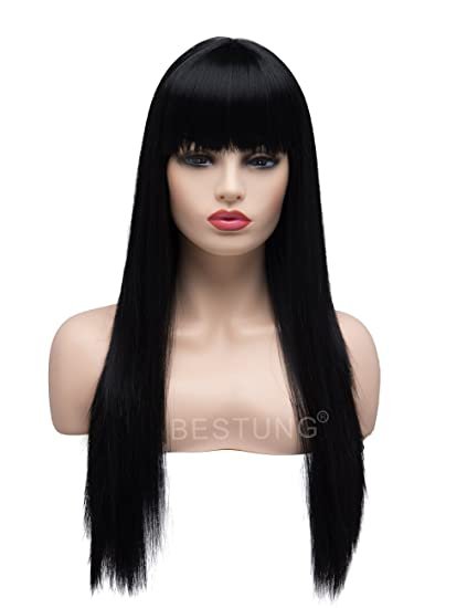 BESTUNG Peluca larga recta negra Brunett para mujer, pelo sintético, peluca natural con brazaletes