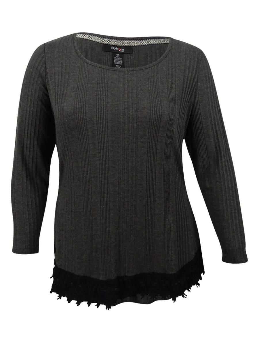 Style & Co. Womens Plus Hi-Low Crochet Trim Casual Top Gray 1X