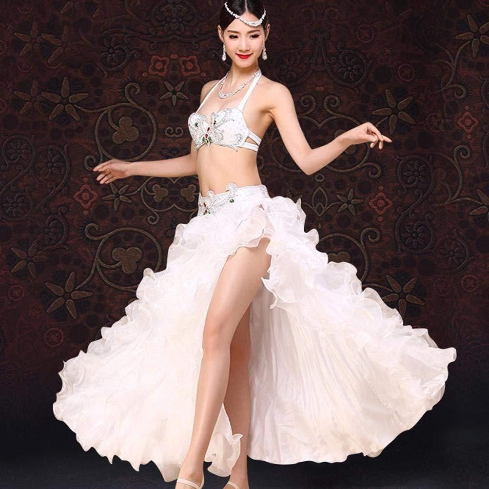 女性のベリーダンスの衣装大人のラインストーンブラパフォーマンスセット高スリット波ビッグスイングドレス衣装2個 B07Q72WB9Z 白 L l