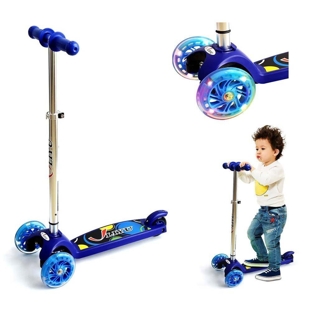 Mini Kick Scooter Scooters en T, altura ajustable con Deluxe de ancho 3 sintética intermitente ruedas especial antivuelco diseño perfecto para niños, rosa LIYU LIYU1281F