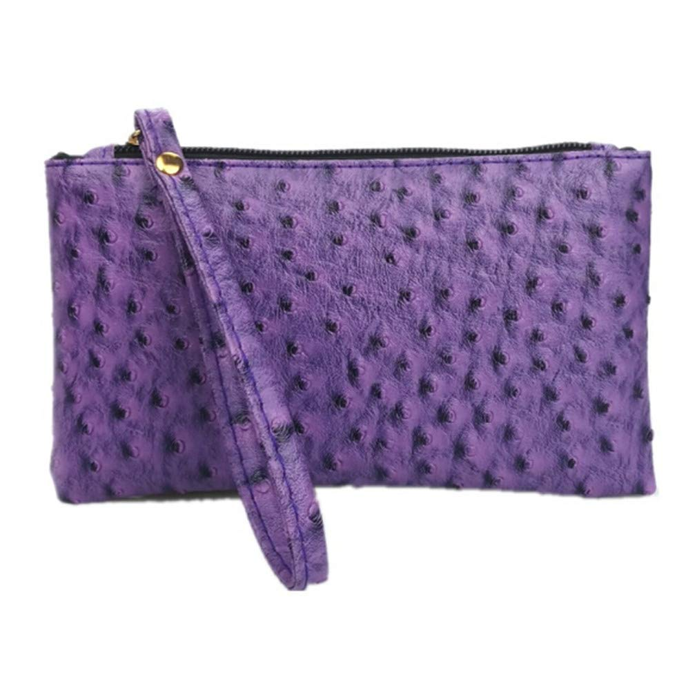 MOONQING Ostrich Pattern Wallet Classic Style Zipper Wristband Hand Hold Key Coin Clutch Bag Embossed PU Long Wallet,Purple