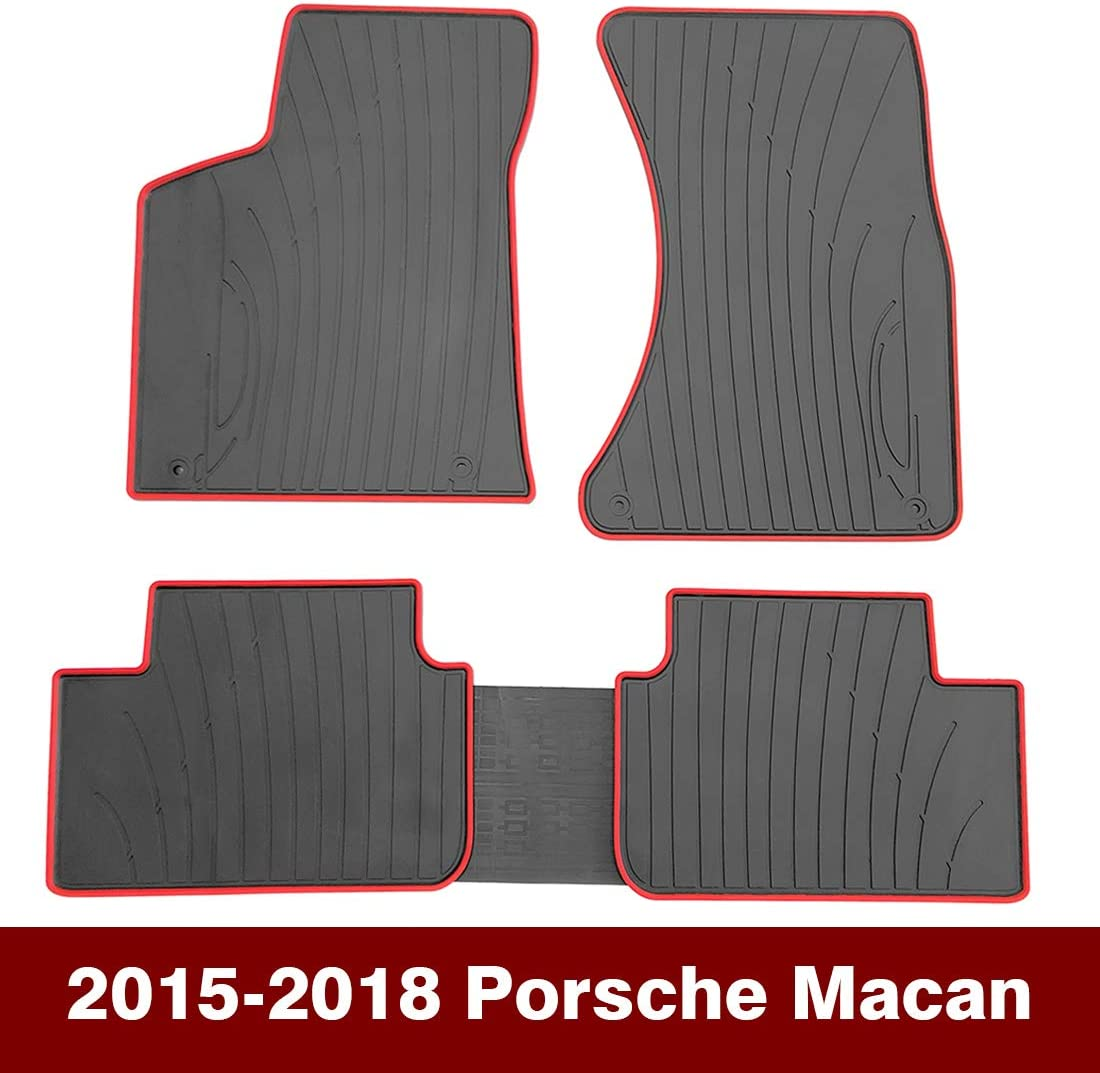 OREALTECH Tapis De Sol pour Voiture Porsche Macan 2015-2018 Tapis Auto en Caoutchouc pour Tous Les Temps-sur Mesure Avant Arri/ère Noir-Antid/érapant//Inodore