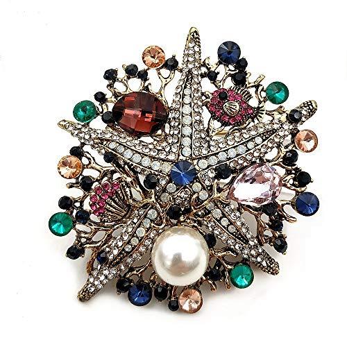 DREAMLANDSALES Nautical Vintage Jewelry Multi Colored Crystal Background Silver Sea Star Brooch Pins