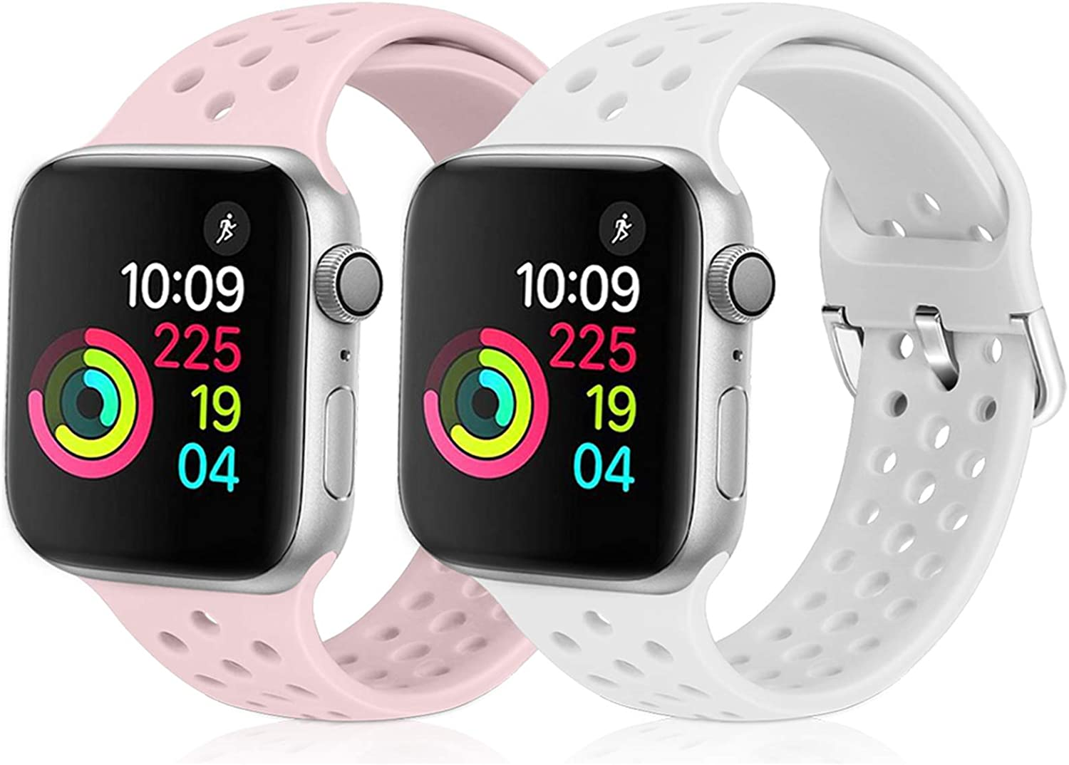 XFYELE Compatible with Apple Watch Band 38mm 40mm, Soft Silicone Replacement Strap Compatible for iWatch Series 6, 5, 4, 3, 2, 1 for Women and Men (White & Pink Sand, 38mm/40mm)