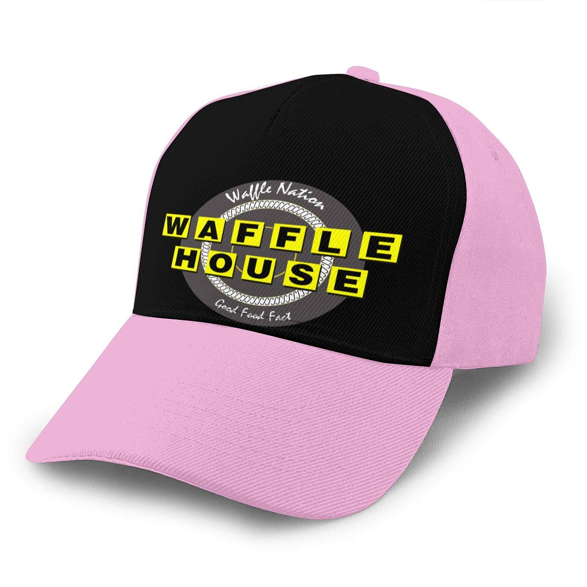 Adjustable Women Men Waffle-House Print Baseball Cap Flat Brim Cap Hats Hip Hop Snapback Sun Hat Boys Girls Pink by Apolonia