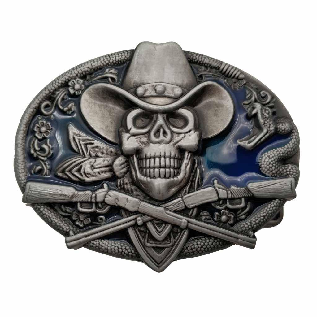 YONE Western Cowboy Skull Pirate Rifles Belt Buckle Gürtelschnallen